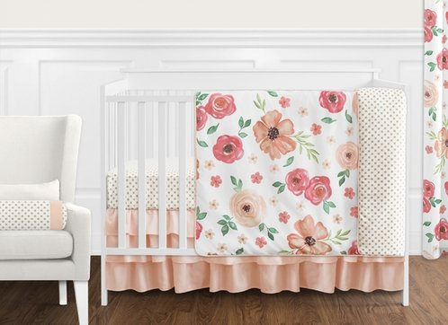 Peach and Green Shabby Chic Watercolor Floral Baby Girl Crib Bedding Set without Bumper by Sweet Jojo Designs - 11 pieces - Pink Rose Flower Polka Dot - Click to enlarge