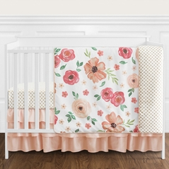 Peach and Green Shabby Chic Watercolor Floral Baby Girl Crib Bedding Set without Bumper by Sweet Jojo Designs - 4 pieces - Pink Rose Flower Polka Dot
