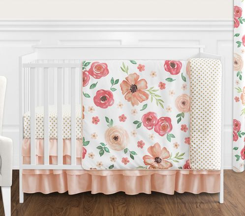 Peach and Green Shabby Chic Watercolor Floral Baby Girl Crib Bedding Set without Bumper by Sweet Jojo Designs - 4 pieces - Pink Rose Flower Polka Dot - Click to enlarge