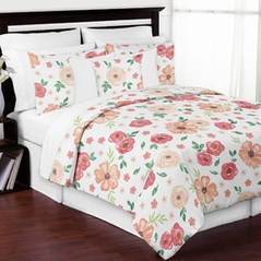 Peach and Green Shabby Chic Watercolor Floral Girl Full / Queen Kid Teen Bedding Comforter Set by Sweet Jojo Designs - 3 pieces - Pink Rose Flower