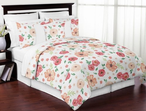 Peach and Green Shabby Chic Watercolor Floral Girl Full / Queen Kid Teen Bedding Comforter Set by Sweet Jojo Designs - 3 pieces - Pink Rose Flower - Click to enlarge