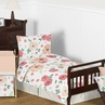 Peach and Green Shabby Chic Watercolor Floral Girl Toddler Bedding Set for Children Kids by Sweet Jojo Designs - 5 pieces Comforter, Sham and Sheets - Pink Rose Flower Polka Dot