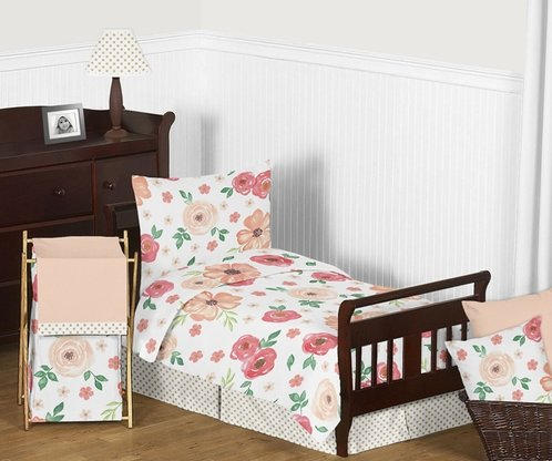 Peach and Green Shabby Chic Watercolor Floral Girl Toddler Bedding Set for Children Kids by Sweet Jojo Designs - 5 pieces Comforter, Sham and Sheets - Pink Rose Flower Polka Dot - Click to enlarge
