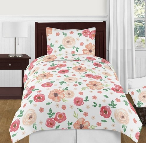 Peach and Green Shabby Chic Watercolor Floral Girl Twin Kids Childrens Bedding Comforter Set by Sweet Jojo Designs - 4 pieces - Pink Rose Flower - Click to enlarge