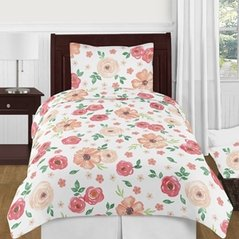 Peach and Green Shabby Chic Watercolor Floral Girl Twin Kids Childrens Bedding Comforter Set by Sweet Jojo Designs - 4 pieces - Pink Rose Flower