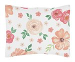 Peach and Green Standard Pillow Sham for Watercolor Floral Collection by Sweet Jojo Designs - Pink Rose Flower
