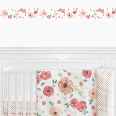 Peach and Green Wallpaper Wall Border for Watercolor Floral Collection by Sweet Jojo Designs - Pink Rose Flower