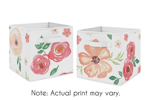 Peach and Green Watercolor Floral Organizer Storage Bins for Collection by Sweet Jojo Designs - Set of 2 - Click to enlarge