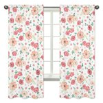 Peach and Green Window Treatment Panels Curtains for Watercolor Floral Collection by Sweet Jojo Designs - Set of 2 - Pink Rose Flower