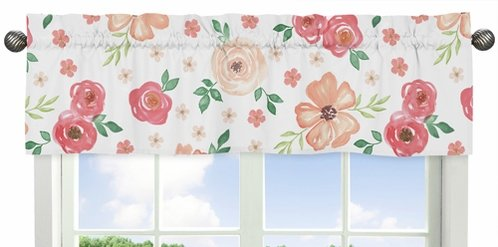 Peach and Green Window Treatment Valance for Watercolor Floral Collection by Sweet Jojo Designs - Pink Rose Flower - Click to enlarge