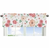Peach and Green Window Treatment Valance for Watercolor Floral Collection by Sweet Jojo Designs - Pink Rose Flower