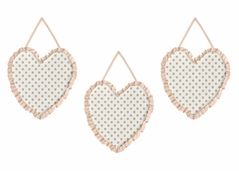 Peach, Gold and White Wall Hanging Decor for Watercolor Floral Collection by Sweet Jojo Designs - Set of 3