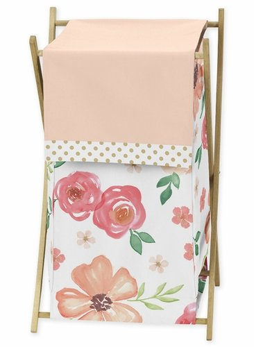 Peach, Green and Gold Baby Kid Clothes Laundry Hamper for Watercolor Floral Collection by Sweet Jojo Designs - Pink Rose Flower - Click to enlarge