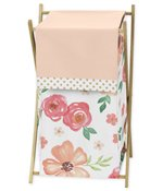 Peach, Green and Gold Baby Kid Clothes Laundry Hamper for Watercolor Floral Collection by Sweet Jojo Designs - Pink Rose Flower
