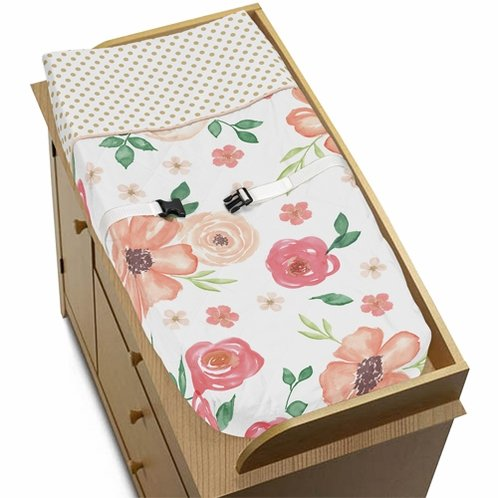 Peach, Green and Gold Changing Pad Cover for Watercolor Floral Collection by Sweet Jojo Designs - Pink Rose Flower - Click to enlarge
