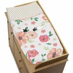 Peach, Green and Gold Changing Pad Cover for Watercolor Floral Collection by Sweet Jojo Designs - Pink Rose Flower