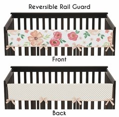 Peach, Green and Gold Long Front Crib Rail Guard Baby Teething Cover Protector Wrap for Watercolor Floral Collection by Sweet Jojo Designs - Pink Rose Flower Polka Dot