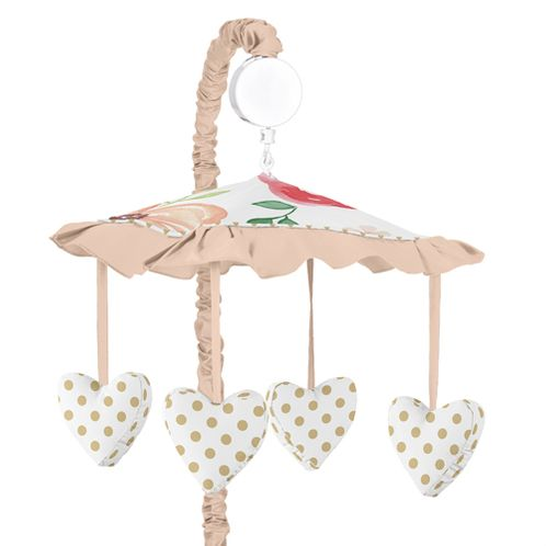 Peach, Green and Gold Musical Baby Crib Mobile for Watercolor Floral Collection by Sweet Jojo Designs - Pink Rose Flower - Click to enlarge