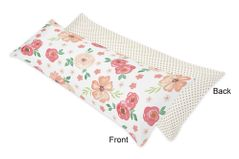 Peach, Green and Gold Polka Dot Body Pillow Case Cover for Watercolor Floral Collection by Sweet Jojo Designs (Pillow Not Included) - Pink Rose Flower