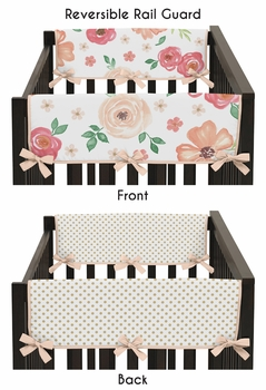 Peach, Green and Gold Side Crib Rail Guards Baby Teething Cover Protector Wrap for Watercolor Floral Collection by Sweet Jojo Designs - Set of 2 - Pink Rose Flower Polka Dot