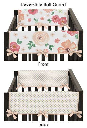 Peach, Green and Gold Side Crib Rail Guards Baby Teething Cover Protector Wrap for Watercolor Floral Collection by Sweet Jojo Designs - Set of 2 - Pink Rose Flower Polka Dot - Click to enlarge