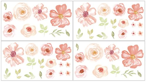 Peach, Green and White Peel and Stick Wall Decal Stickers Art Nursery Decor for Turquoise Watercolor Floral Collection by Sweet Jojo Designs - Set of 4 Sheets - Pink Rose Flower - Click to enlarge