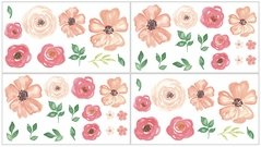 Peach, Green and White Wall Decal Stickers for Peach Watercolor Floral Collection by Sweet Jojo Designs - Set of 4 Sheets - Pink Rose Flower