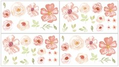 Peach, Green and White Wall Decal Stickers for Turquoise Watercolor Floral Collection by Sweet Jojo Designs - Set of 4 Sheets - Pink Rose Flower