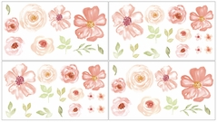 Peach, Green and White Peel and Stick Wall Decal Stickers Art Nursery Decor for Turquoise Watercolor Floral Collection by Sweet Jojo Designs - Set of 4 Sheets - Pink Rose Flower