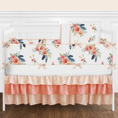 Peach, Navy Blue and Coral Boho Shabby Chic Floral Feather Arrow Baby Girl Nursery Crib Bedding Set with Bumper by Sweet Jojo Designs - 9 pieces - Watercolor Rose Flower