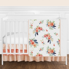 Peach, Navy Blue and Coral Boho Shabby Chic Floral Feather Arrow Baby Girl Nursery Crib Bedding Set without Bumper by Sweet Jojo Designs - 4 pieces - Watercolor Rose Flower