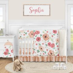 Peach Watercolor Floral Baby Girl Nursery Crib Bedding Set by Sweet Jojo Designs - 5 pieces - Pink and Green Shabby Chic Rose Flower Polka Dot