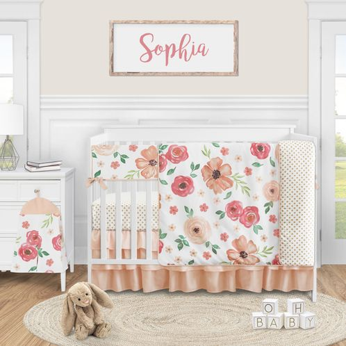 Peach Watercolor Floral Baby Girl Nursery Crib Bedding Set by Sweet Jojo Designs - 5 pieces - Pink and Green Shabby Chic Rose Flower Polka Dot - Click to enlarge