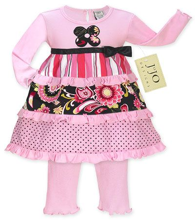 Pink and Black Floral, Stripe and Polka Dot Baby Girls 2pc Outfit or Dress by Sweet Jojo Designs - Click to enlarge