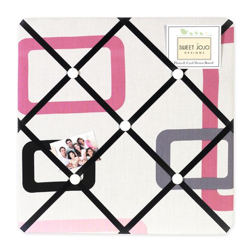 Pink and Black Geo Fabric Memory/Memo Photo Bulletin Board - Click to enlarge
