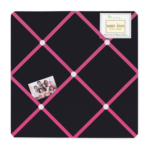 Pink and Black Hearts Fabric Memory/Memo Photo Bulletin Board - Click to enlarge