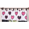 Pink and Black Hearts Girls Window Valance by Sweet Jojo Designs