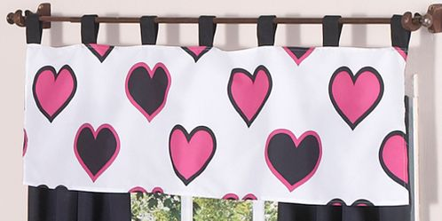 Pink and Black Hearts Girls Window Valance by Sweet Jojo Designs - Click to enlarge