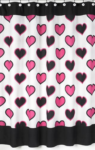 Pink and Black Hearts Kids Bathroom Fabric Bath Shower Curtain - Click to enlarge