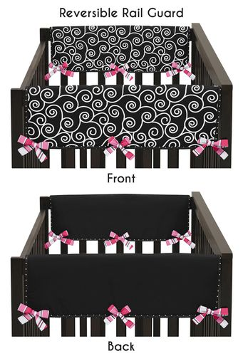 Pink and Black Madison Baby Crib Side Rail Guard Covers by Sweet Jojo Designs - Set of 2 - Click to enlarge