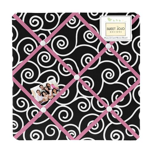 Pink and Black Madison Fabric Memory/Memo Photo Bulletin Board - Click to enlarge