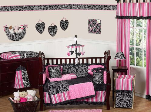 Pink And Black Madison S Boutique Baby Bedding 9 Pc Crib Set