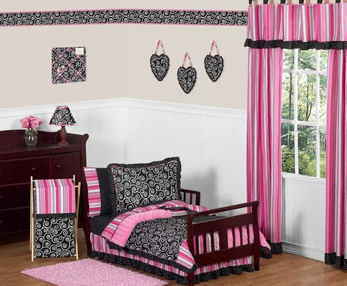 Pink and Black Madison Girls Boutique Toddler Bedding - 5pc Set - Click to enlarge