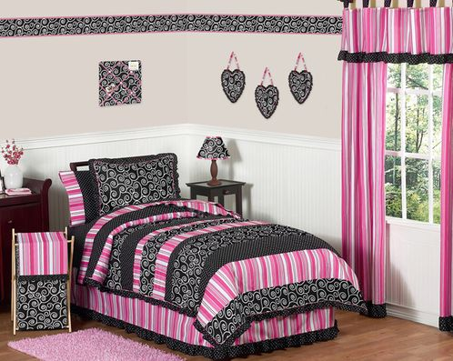 Pink and Black Madison Girls Kids & Teen Bedding - 4pc Twin Set - Click to enlarge