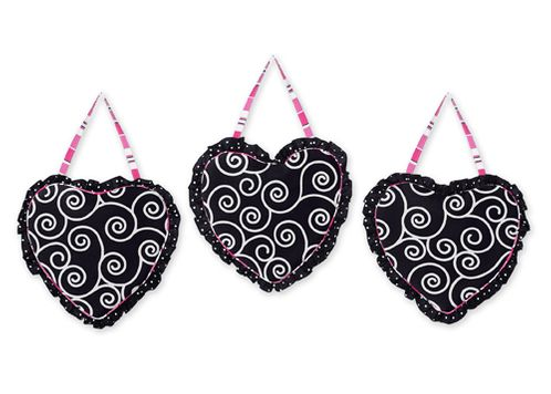 Pink and Black Madison Wall Hanging Accessories by Sweet Jojo Designs - Click to enlarge