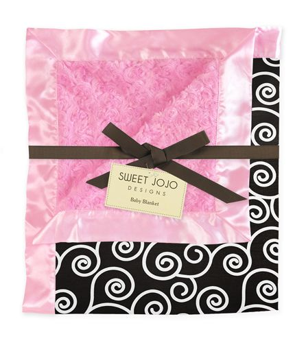 Pink and Black Minky and Satin Baby Blanket by Sweet Jojo Designs - Click to enlarge