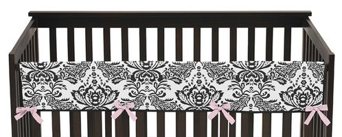 Pink and Black Sophia Baby Crib Long Rail Guard Cover by Sweet Jojo Designs - Click to enlarge