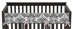 Pink and Black Sophia Baby Crib Long Rail Guard Cover by Sweet Jojo Designs