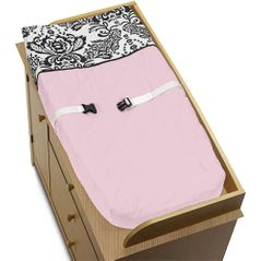 Pink and Black Sophia Baby Girls Changing Pad Cover by Sweet Jojo Designs