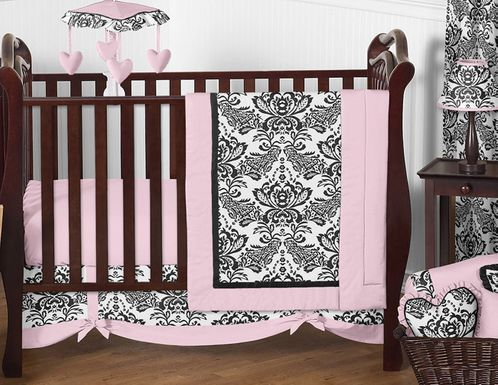 Pink and Black Sophia Crib Bedding - 11pc crib set - Click to enlarge